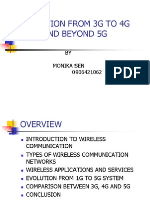 Evolution From 3G To 4G And Beyond 5G: BY Monika Sen 0906421062