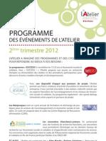 Programme Animation de l'Atelier, 2e trimestre 2012