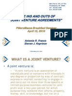 Ins and Outs of Joint Venture Agreements - 4-15-10