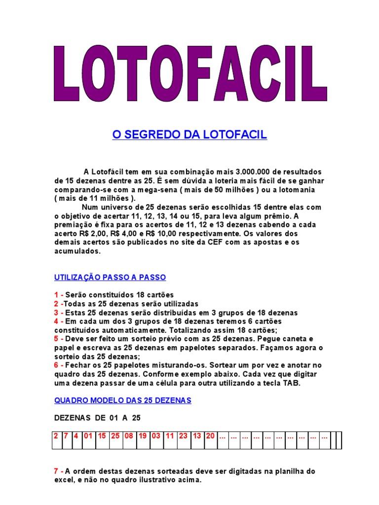 segredo da lotofácil revelado