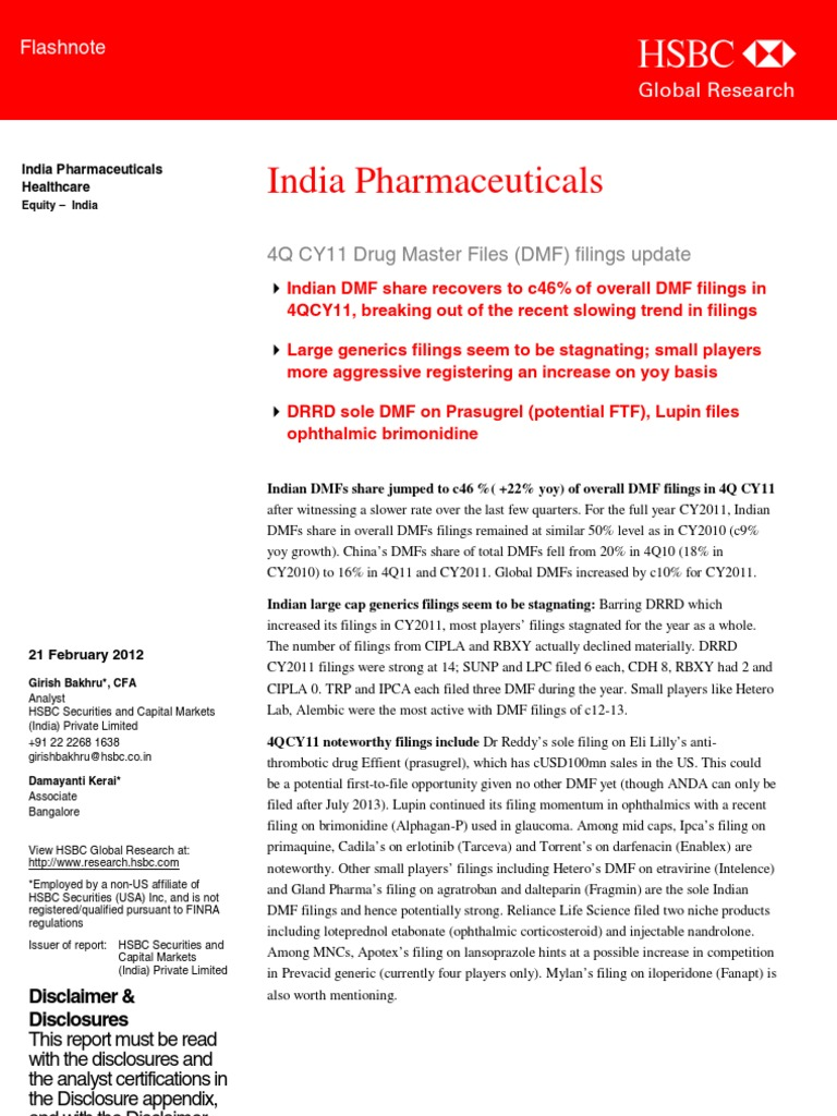 Pharma+HSBC+21feb2012 | Securities Research | Stocks