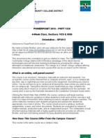 Orientation - POFT 1328 - 4-Week Classes -SP2012