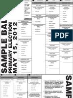 Lancaster County Nebraska May 15 2012 Primary Election Sample Ballot