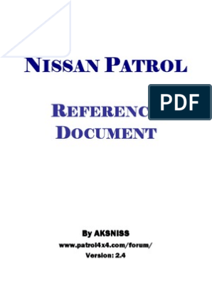 Nissan Patrol ZD30 Y61 Reference Document - Colour   Turbocharger   Tire