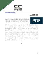 Comunicado de Prensa IFE-005-2012