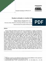 Student Attitudes to Student Debt