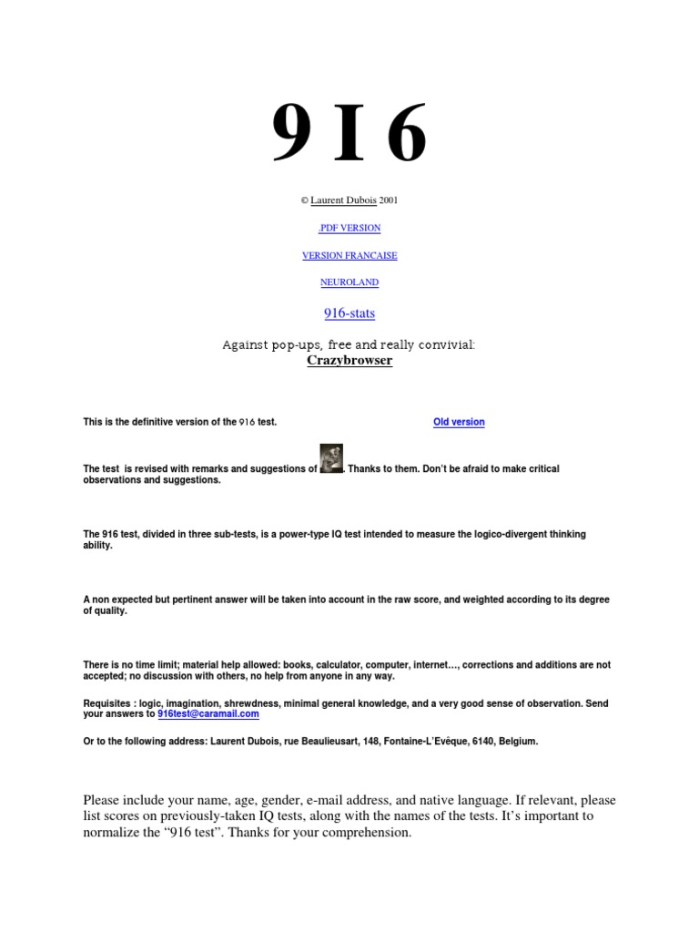 916 | Intelligence Quotient | Sequence