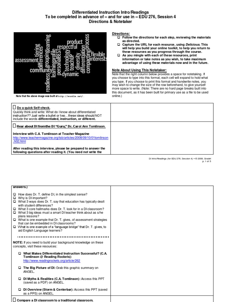Session 4 Homework Differentiated Instruction Learning
