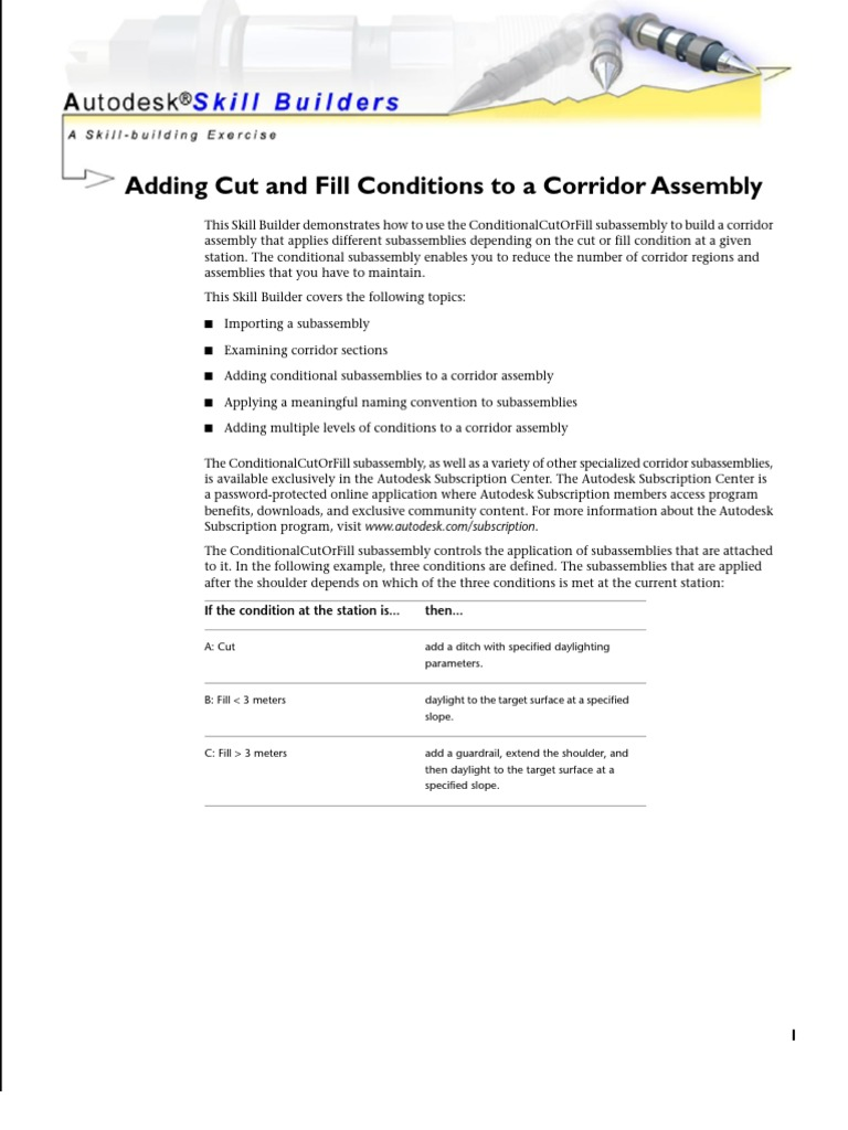 Civil3D 2009 Skill Builder Conditional Sub Assembly | Auto Cad