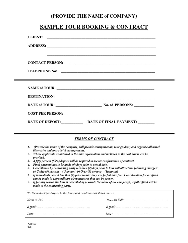 Sample Tour Contract