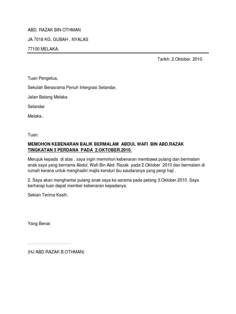 50525095 Surat Balik Bermalam Asrama