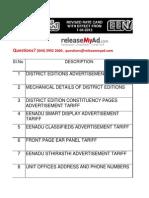 Eenadu Rates Effective 1.4.2012 Release My Ad