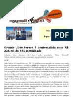 Grande João Pessoa é contemplada com R$ 336 mi do PAC Mobilidade