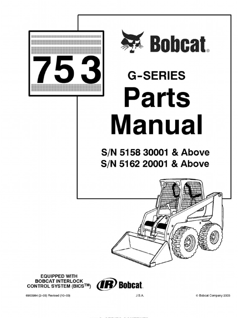 bobcat 753g master parts catalog. Black Bedroom Furniture Sets. Home Design Ideas