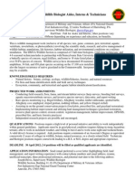 PA DMVA Seasonal (2012) Wildlife Jobs Announcement