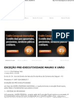 EXCEÇÃO PRE-EXECUTIVIDADE MAURO X UNÃO « BANCO DE PETIÇÕES