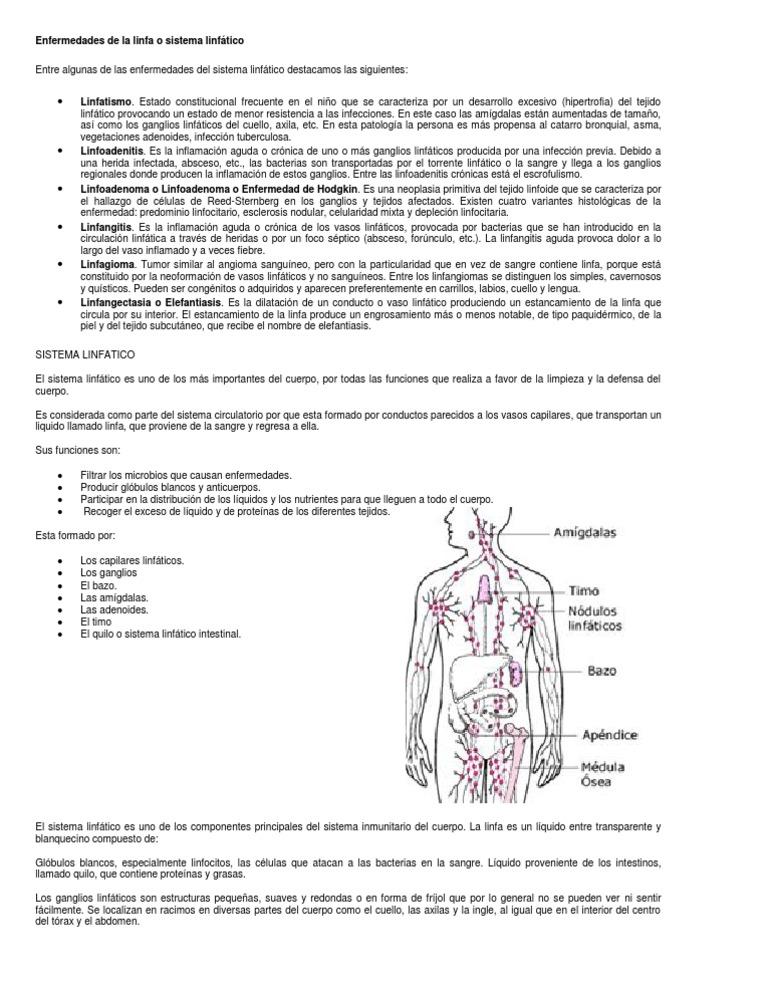 Enfermedades de la linfa o sistema linfático