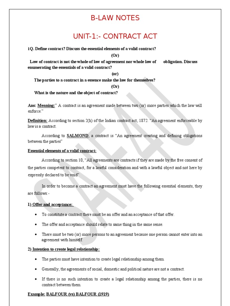 Business law notes offer and acceptance consideration platinumwayz