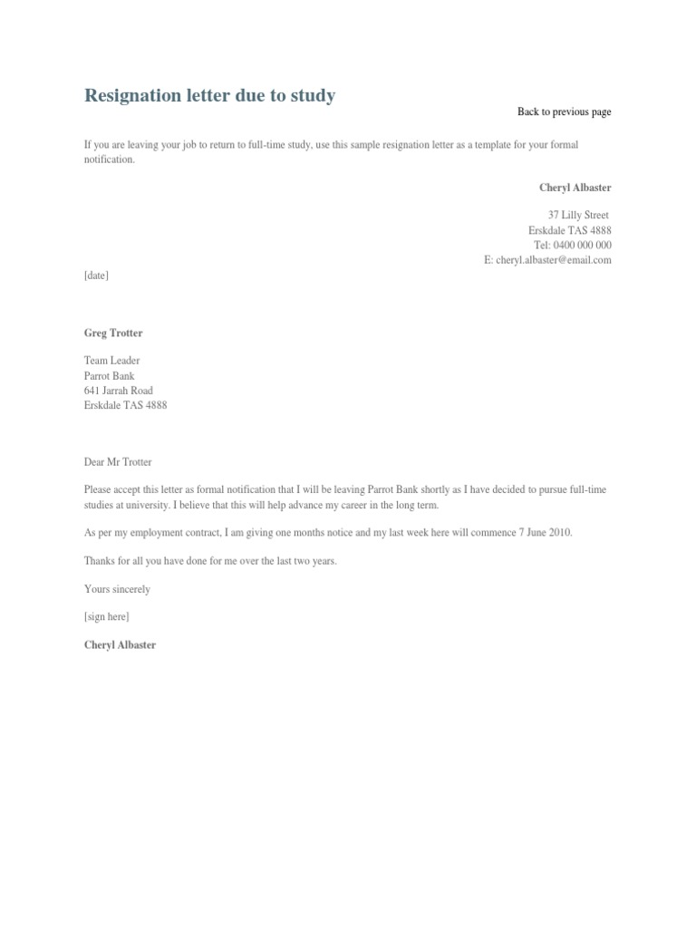 Resignation letter due to study 1536650174v1 altavistaventures Gallery