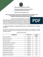 Edital com a lista de candidatos aprovados no TRF-2