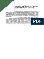 FATOS HISTÓRICOS DA VINDA DE CRISTO COMO FILHO DE DEUS