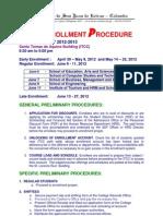 Enrollment Procedure for 1st Semester 2012
