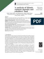 Risk Returns Analysis of Islamic Deposits and Shareholder Fund