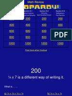 Fraction Decimal Percent Jeopardy