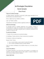 Guía de Etimologías Grecolatinas Primer Parcial