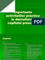 Important A Activitatilor Practice in Dezvoltarea Copilului Prescolar
