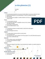 Características dos planetas (1)