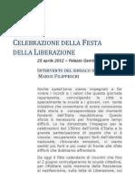 25 Aprile 2012 - Intervento Del Sindaco d Pisa Marco Filippeschi