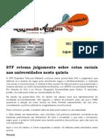 STF Retoma Julgamento Sobre Cotas Raciais Nas Universidades Nesta Quinta