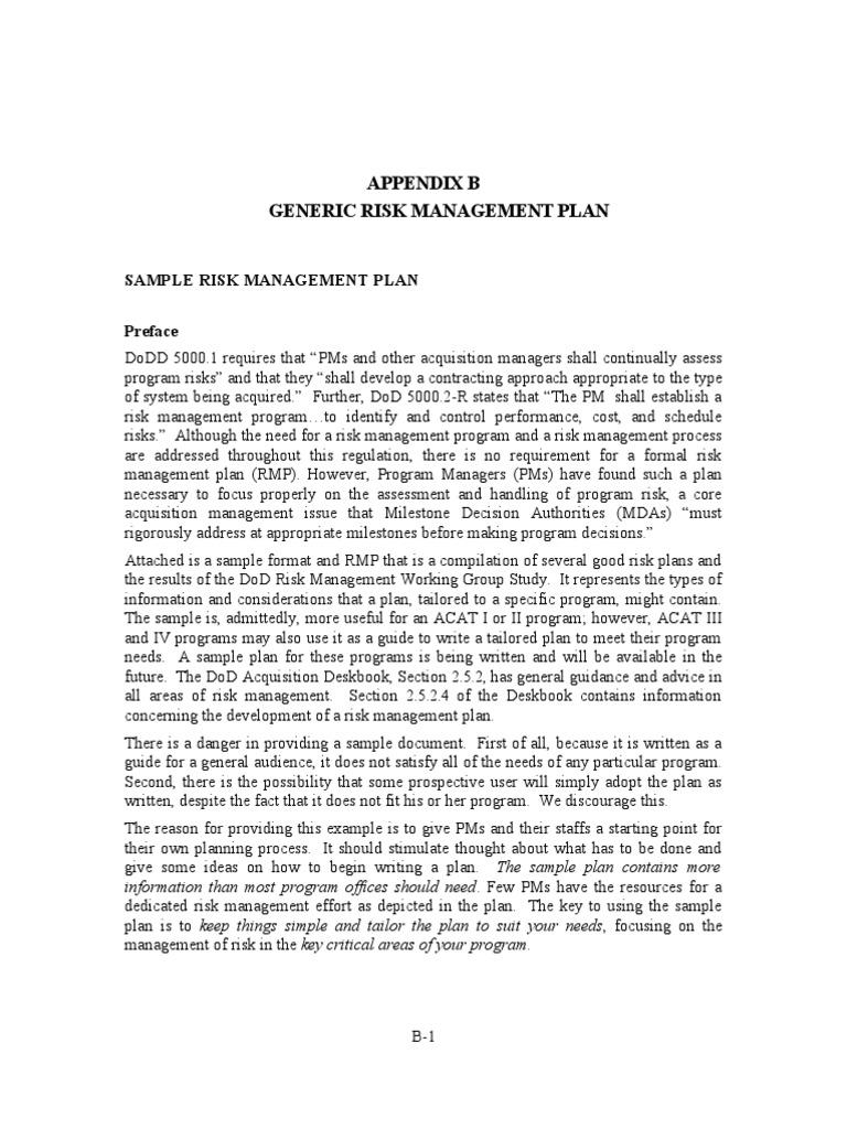 Generic Risk Management Plan Risk Management Risk