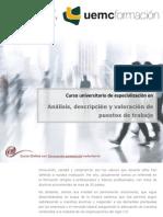 Curso universitario de especialización en ANÁLISIS DESCRIPCIÓN Y VALORACIÓN DE PUESTOS DE TRABAJO