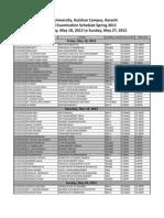 Final Schedule Spring 2012