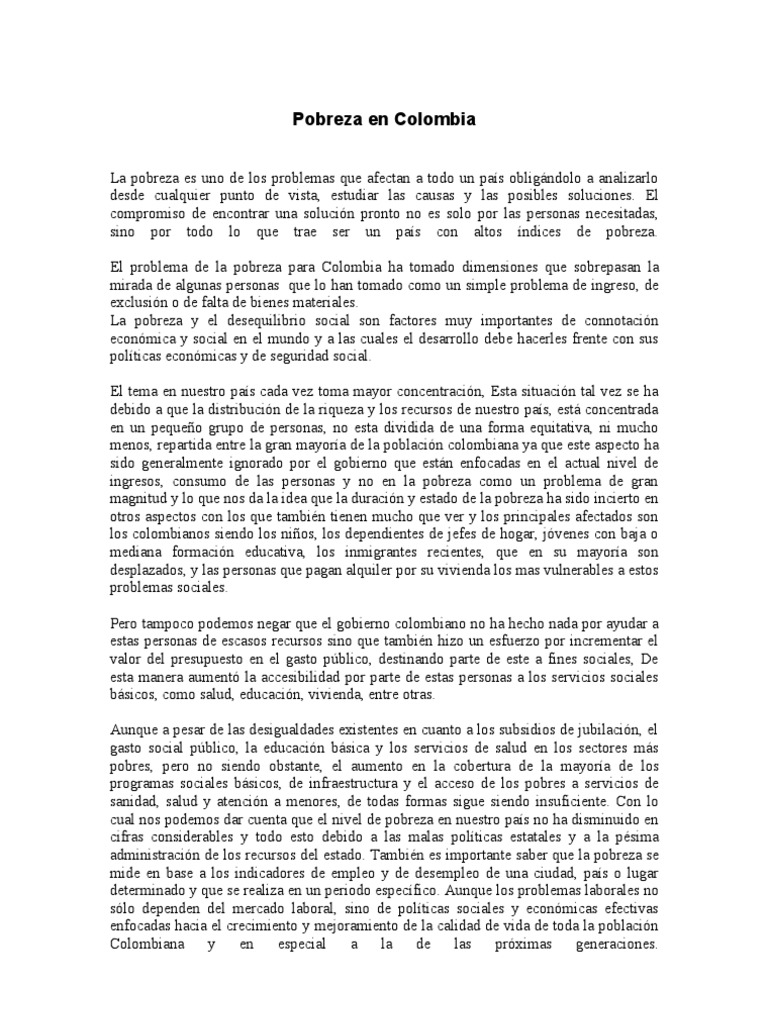 Ensayo Sobre La Pobreza en Colombia