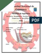 Informe Del Trabajo de Investigacion Cristalografia Mineralogia y Petrologia