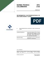 NTC2150 Recubrimiento Electrolitico