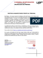 CGE A16-04-12 Comunicado de Prensa - Invitan a Manifestación frente al Tribunal de San Juan