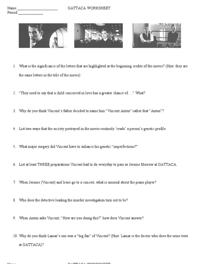 GATTACA Worksheet 1 Cloning – Gattaca Movie Worksheet