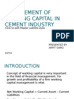 Management of Working Capital in Cement Industry