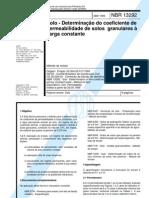 NBR 13292 - Solo - Determinação do coeficiente de permeabilidade de solos granulares à carga constante