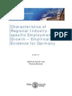 Characteristics of Regional Industry-specific Employment Growth. Empirical Evidence for Germany (Eng)/ Características del crecimiento de empleo en industrias especificas regionales. Evidencia empírica para Alemania (Ing)/ Eskualdeko Industria espezifikoko enplegu hazkundearen ezaugarriak. Alemaniaren kasua (Ing)