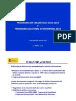 PROGRAMA DE ESTABILIDAD 2012‐2015 Y PROGRAMA NACIONAL DE REFORMAS 2012 DEL REINO DE ESPAÑA