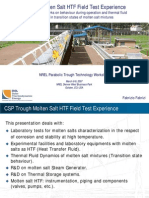 Trough Molten Salt HTF Field Test Experience Experimental Remarks on Behaviour During Operation and Thermal Fluid Dynamics in Transition States of Molten Salt Mixtures