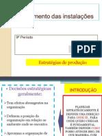 Planejamento das instalações....AULA ...PI .II  ..Estratégias de produção
