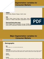 Major Segmentation Variables for Consumer Markets
