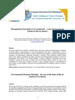 Planejamento Estratégico governamental - o caso do Estado do Rio de Janeiro