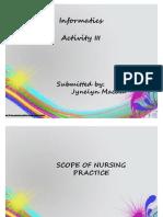 Actvity III-SCOPE OF NURSING PRACTICE/JYNELYN CAINTA MACAM